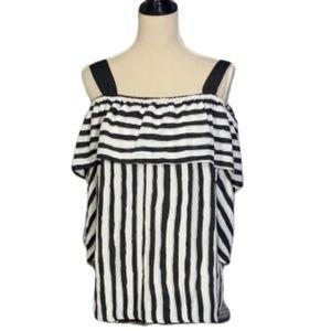 Chico's Black White Stripe Off Shoulder Top 3 (XL)